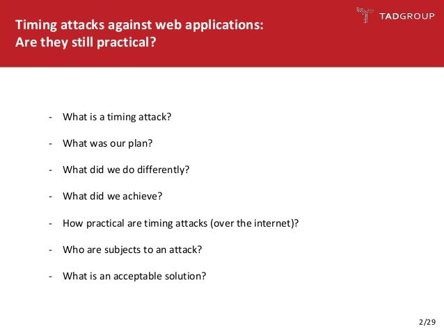 Timing attacks against web applications: Are they still practical? Slide 2