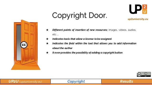 UP2U (up2university.eu) Copyright Results Copyright Door. ★ Different points of insertion of new resources; images, videos...