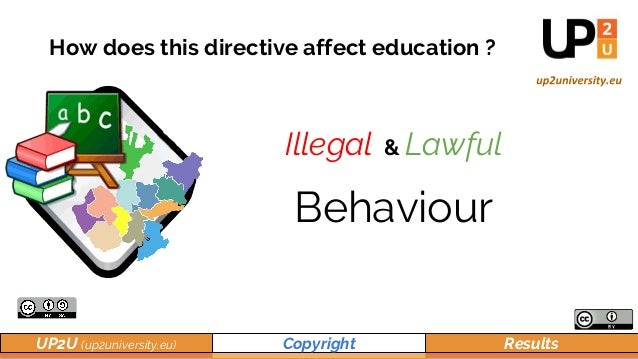 UP2U (up2university.eu) Copyright Results How does this directive affect education ? Illegal & Lawful Behaviour