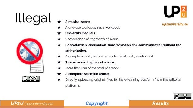 UP2U (up2university.eu) Copyright Results Illegal ★ A musical score. ★ A one-use work, such as a workbook ★ University man...