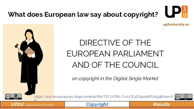 UP2U (up2university.eu) Copyright Results DIRECTIVE OF THE EUROPEAN PARLIAMENT AND OF THE COUNCIL on copyright in the Digi...