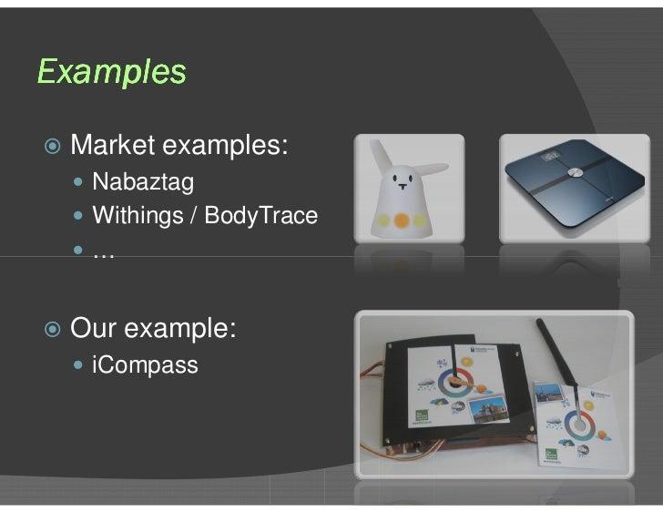 Examples <ul><li>Market examples: </li></ul><ul><ul><li>Nabaztag </li></ul></ul><ul><ul><li>Withings / BodyTrace </li></ul...