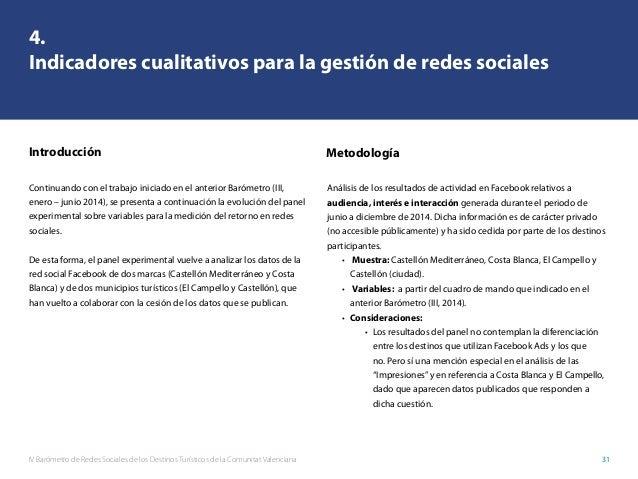 IV Barómetro de Redes Sociales de los Destinos Turísticos de la Comunitat Valenciana 31 4. Indicadores cualitativos para l...