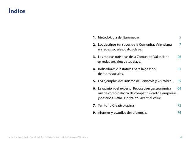 IV Barómetro de Redes Sociales de los Destinos Turísticos de la Comunitat Valenciana 4 Índice 1. Metodología del Barómetro...