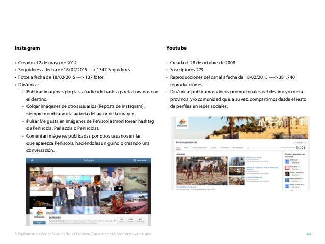 IV Barómetro de Redes Sociales de los Destinos Turísticos de la Comunitat Valenciana 46 Instagram • Creado el 2 de mayo d...