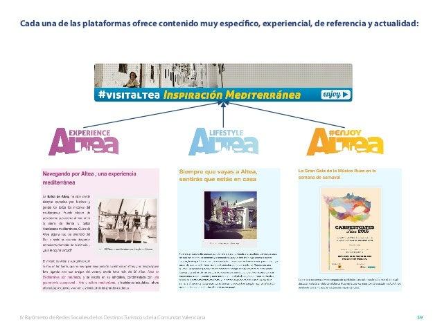 IV Barómetro de Redes Sociales de los Destinos Turísticos de la Comunitat Valenciana 59 Cada una de las plataformas ofrece...