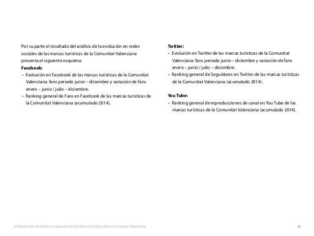 IV Barómetro de Redes Sociales de los Destinos Turísticos de la Comunitat Valenciana 6 Por su parte el resultado del análi...