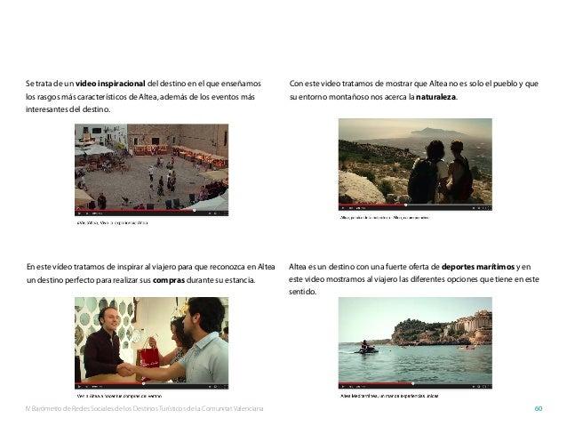 IV Barómetro de Redes Sociales de los Destinos Turísticos de la Comunitat Valenciana 60 Se trata de un video inspiracional...