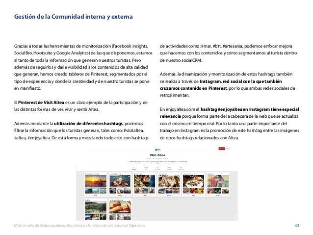 IV Barómetro de Redes Sociales de los Destinos Turísticos de la Comunitat Valenciana 63 Gestión de la Comunidad interna y ...