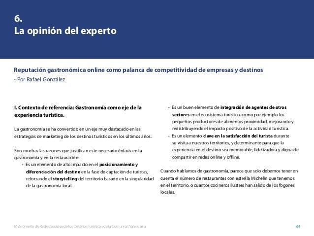 IV Barómetro de Redes Sociales de los Destinos Turísticos de la Comunitat Valenciana 64 I. Contexto de referencia: Gastron...