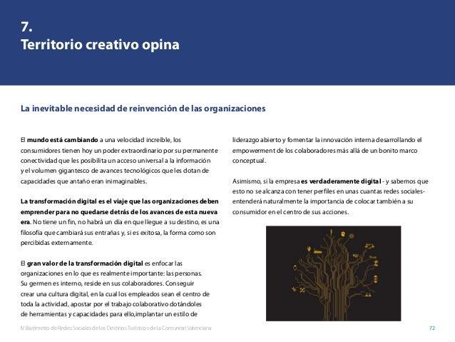 IV Barómetro de Redes Sociales de los Destinos Turísticos de la Comunitat Valenciana 72 7. Territorio creativo opina El mu...