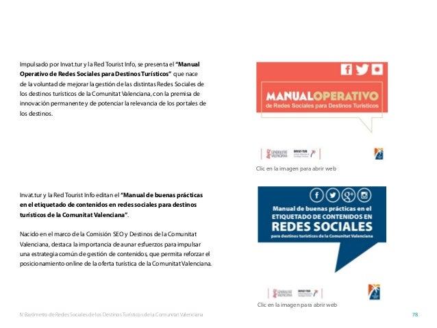 IV Barómetro de Redes Sociales de los Destinos Turísticos de la Comunitat Valenciana 78 Impulsado por Invat.tur y la Red T...