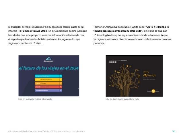 IV Barómetro de Redes Sociales de los Destinos Turísticos de la Comunitat Valenciana 80 El buscador de viajes Skyscanner h...