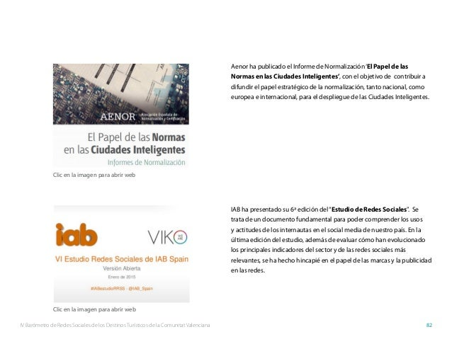 IV Barómetro de Redes Sociales de los Destinos Turísticos de la Comunitat Valenciana 82 Aenor ha publicado el Informe de N...