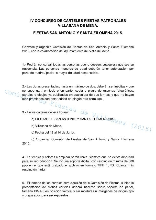 Comisión de Fiestas de Villasana (2015) Comisión de Fiestas de Villasana (2015) IV CONCURSO DE CARTELES FIESTAS PATRONALES...