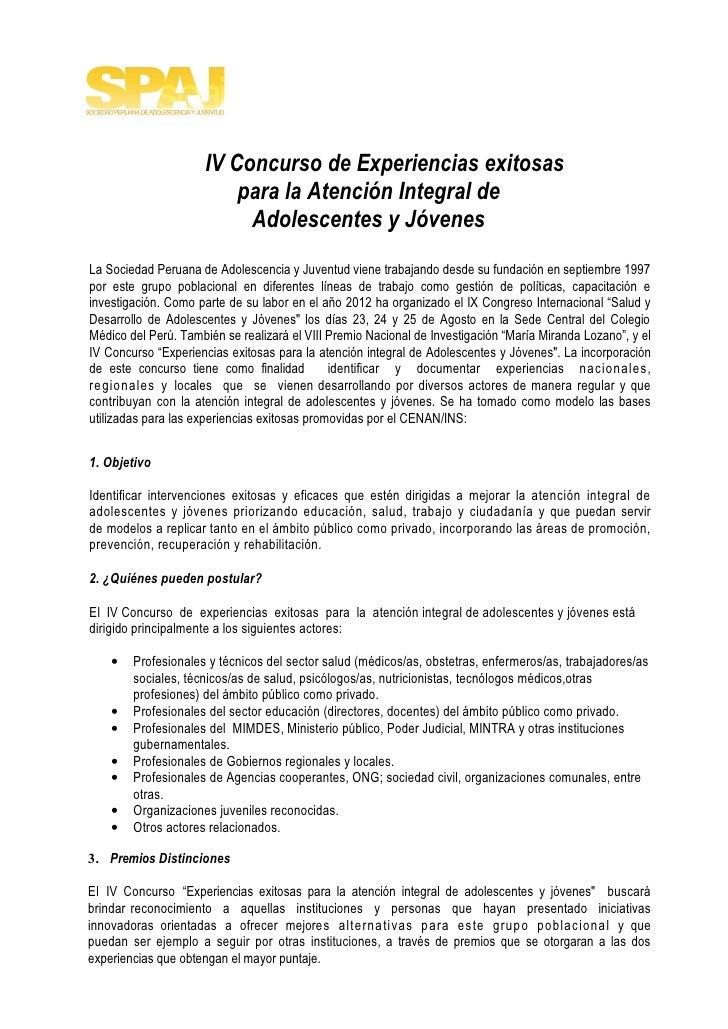 IV Concurso de Experiencias exitosas                          para la Atención Integral de                           Adole...