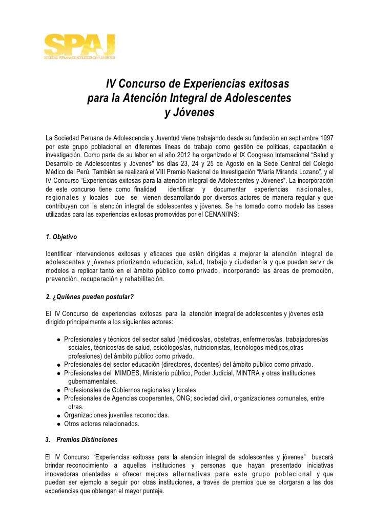 IV Concurso de Experiencias exitosas               para la Atención Integral de Adolescentes                              ...