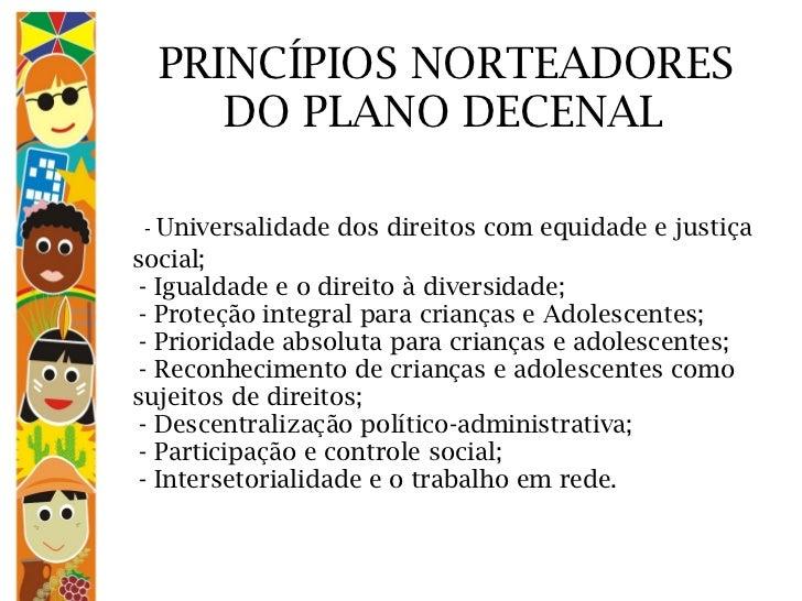 PRINCÍPIOS NORTEADORES   DO PLANO DECENAL    -  Universalidade dos direitos com equidade e justiça social;  - Igualdade e ...