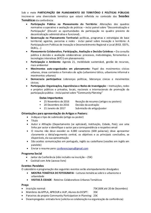CALL FOR PAPERS «A PARTICIPAÇÃO EM PLANEAMENTO DO TERRITÓRIO  E POLÍTICAS PÚBLICAS» Slide 2