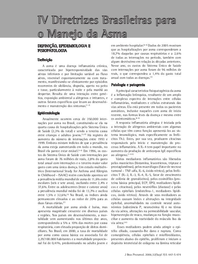 J Bras Pneumol. 2006;32(Supl 7):S 447-S 474 Definição, epidemiologia e fisiopatologia Definição A asma é uma doença inflam...