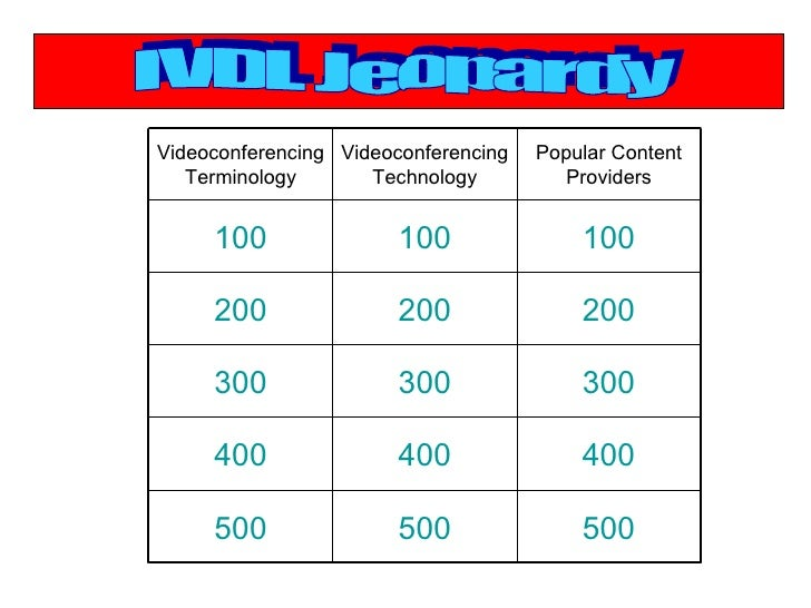 IVDL Jeopardy 500 500 500 400 400 400 300 300 300 200 200 200 100 100 100 Popular Content Providers Videoconferencing Tech...