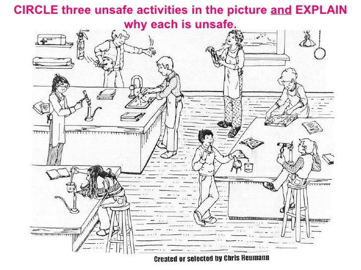 CIRCLE three unsafe activities in the picture  and  EXPLAIN why each is unsafe.