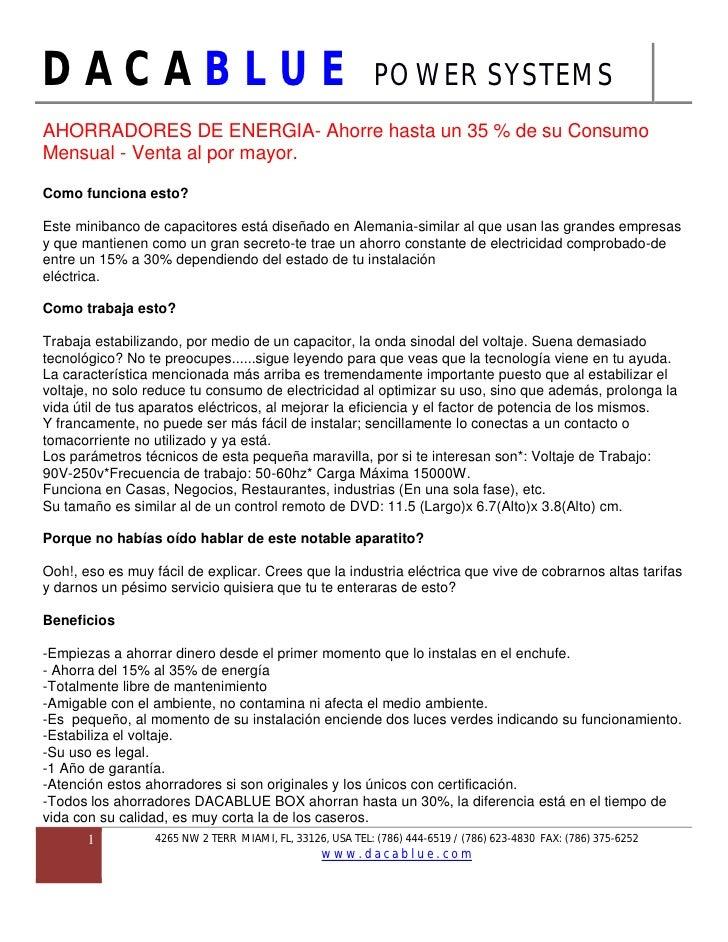 DACABLUE                                                    POWER SYSTEMS AHORRADORES DE ENERGIA- Ahorre hasta un 35 % de ...