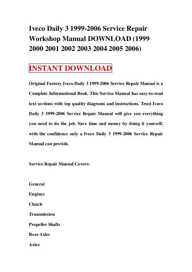 iveco daily 3 1999 2006 service repair workshop manual download 1999 rh slideshare net Iveco Daily 4x4 2010 Iveco Daily