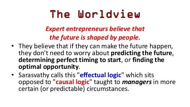 The Worldview Expert entrepreneurs believe that the future is shaped by people. • They believe that if they can make the f...