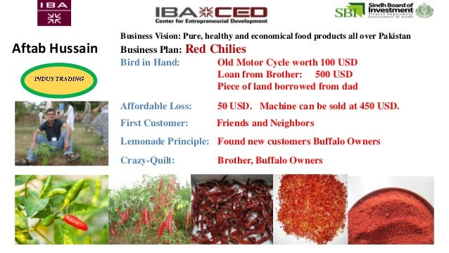 Business Vision: Pure, healthy and economical food products all over Pakistan Business Plan: Red Chilies Bird in Hand: Old...
