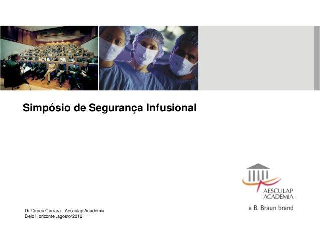 Simpósio de Segurança InfusionalDr Dirceu Carrara - Aesculap AcademiaBelo Horizonte ,agosto/2012