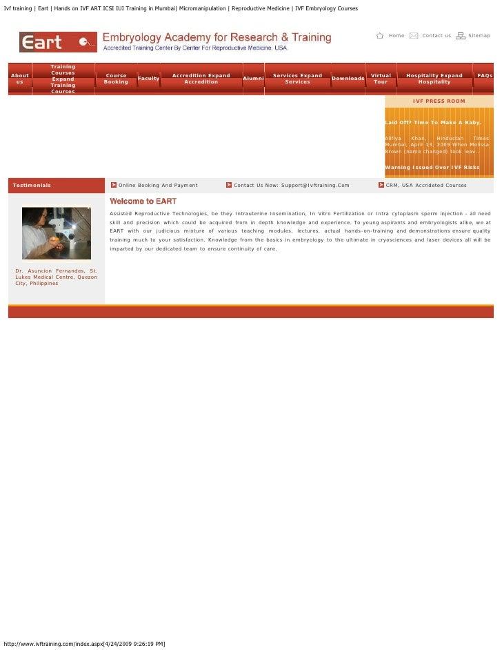 Ivf training | Eart | Hands on IVF ART ICSI IUI Training in Mumbai| Micromanipulation | Reproductive Medicine | IVF Embryo...