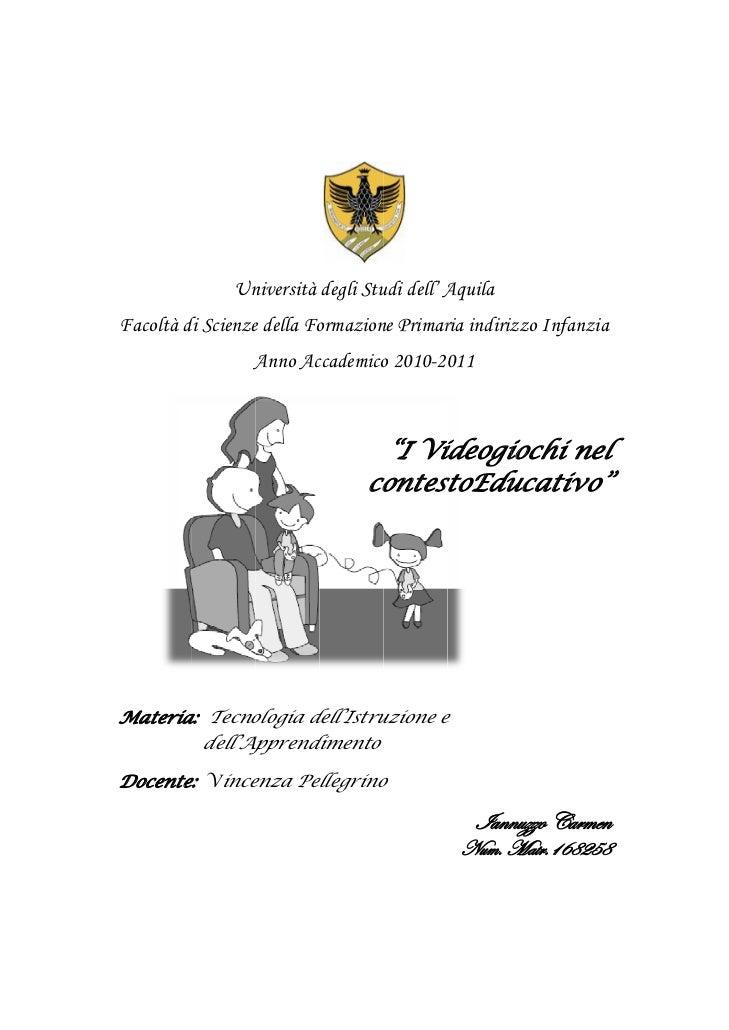 Un              niversità degli Stu dell' A                                udi     AquilaFacoltà d Scienze d...
