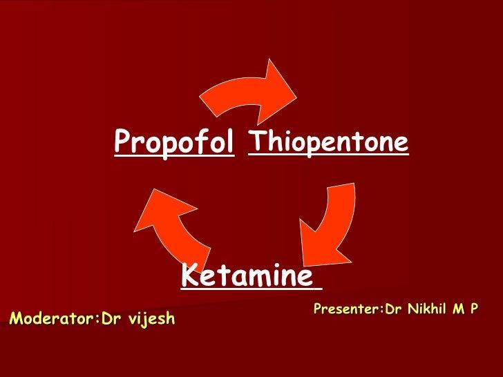 Moderator:Dr vijesh Presenter:Dr Nikhil M P Thiopentone Ketamine   Propofol