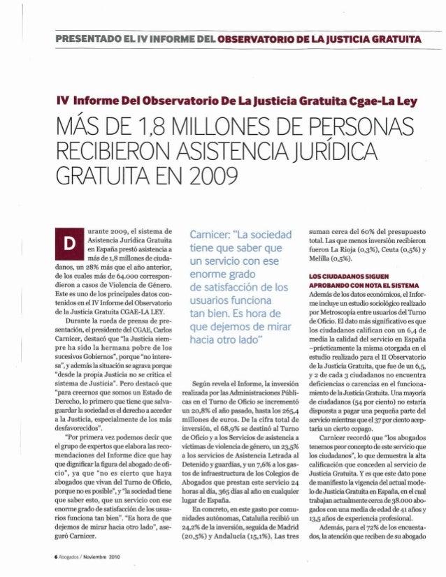 PRESELTÏÏADO El.  I'!  IIÏFOR  ME  DEL OBSERVATORIO DE LA JUSTICIA GRATUITA  w Informe De!  observatorio De La Justicia Gr...
