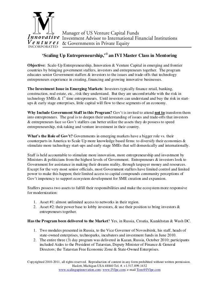 'Scaling Up Entrepreneurship,'© an IVI Master Class in MentoringObjective: Scale-Up Entrepreneurship, Innovation & Venture...