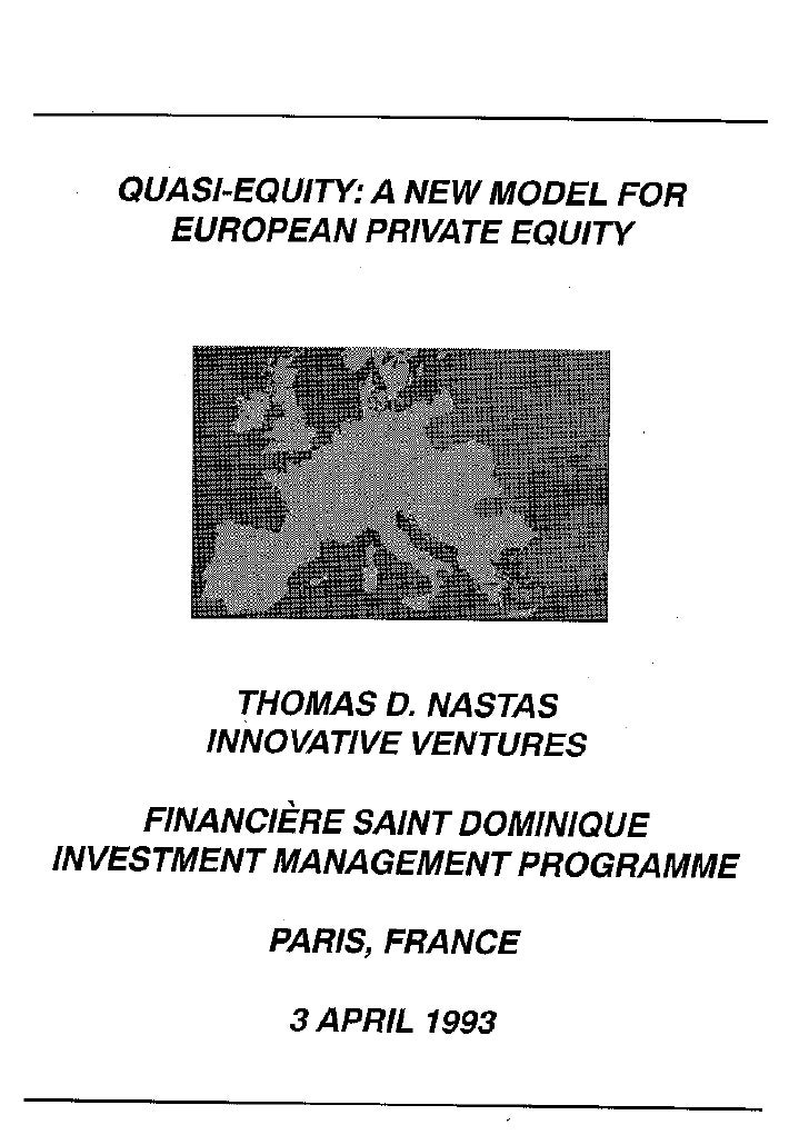 IVI Training Workshop: Quasi Equity A New Model For European Private Equity