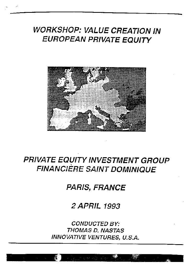 IVI Workshop Value Creation in European Pe