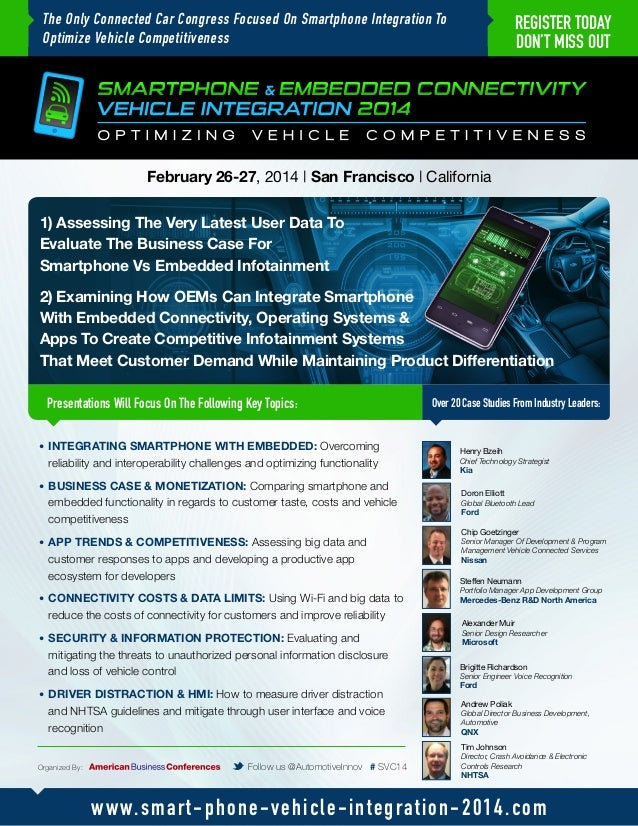 The Only Connected Car Congress Focused On Smartphone Integration To Optimize Vehicle Competitiveness  REGISTER TODAY DON'...