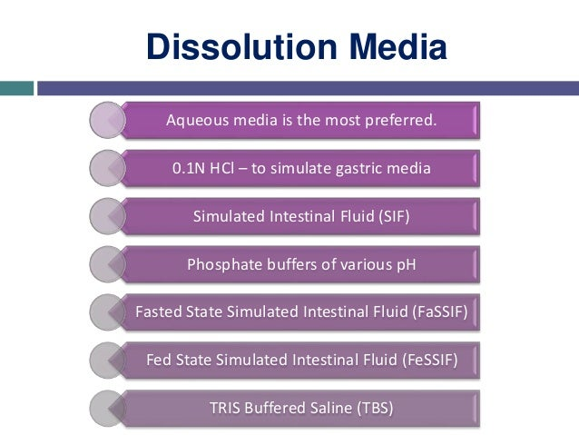 Selection of Dissolution Media • Simulated gastric fluid (without enzymes) • Simulated intestinal fluid (without enzymes) ...