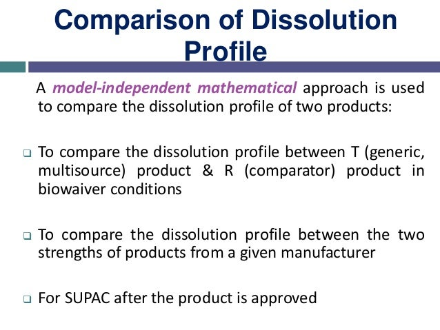 To compare the dissolution profile, two factors are determined: Difference factor (f1) Similarity factor (f2) Comparison o...