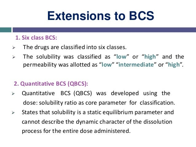 Extensions to BCS 3. Pulmonary BCS  The BCS is limited to the gastrointestinal tract.  The pulmonary BCS (PBCS) consider...