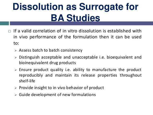 Need of IVIVC  Setting up of an in vitro release test that would serve as a surrogate for in vivo plasma profiles ( bioeq...