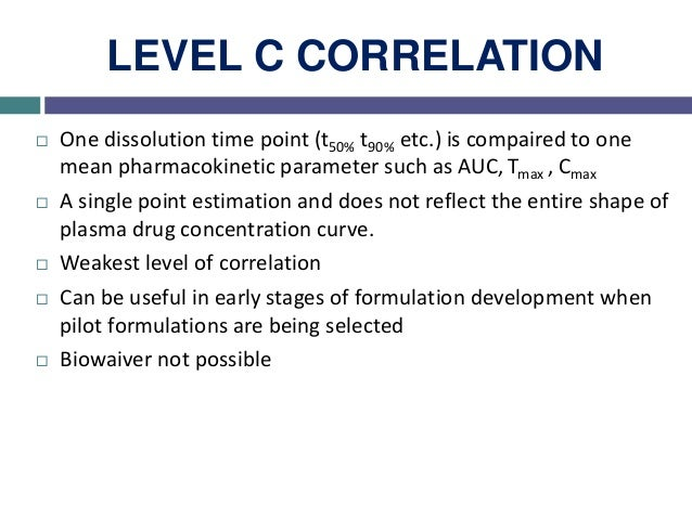 MULTIPLE LEVEL C CORRELATION  Relates one or several pharmacokinetic parameters of interest (Cmax, AUC etc.) to the amoun...