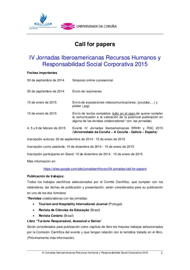 IV Jornadas Iberoamericanas Recursos Humanos y Responsabilidad Social Corporativa 2015 1 Call for papers IV Jornadas Ibero...