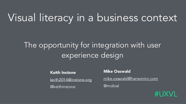 Visual literacy in a business context The opportunity for integration with user experience design #UXVL Keith Instone 