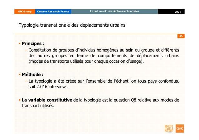 35 2007GfK Group Custom Research France Le taxi au sein des déplacements urbains Typologie transnationale des déplacements...