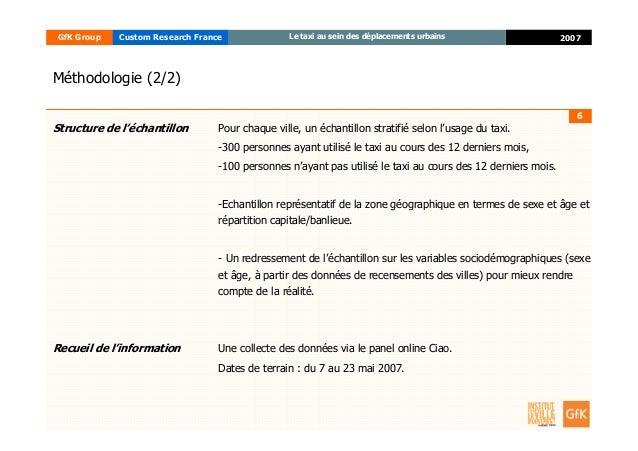 6 2007GfK Group Custom Research France Le taxi au sein des déplacements urbains Structure de l'échantillon Pour chaque vil...