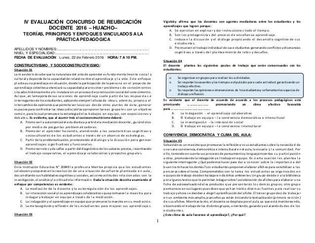 1 IV EVALUACIÓN CONCURSO DE REUBICACIÓN DOCENTE 2016 – HUACHO– TEORÍAS, PRINCIPIOS Y ENFOQUES VINCULADOS ALA PRÁCTICA PEDA...