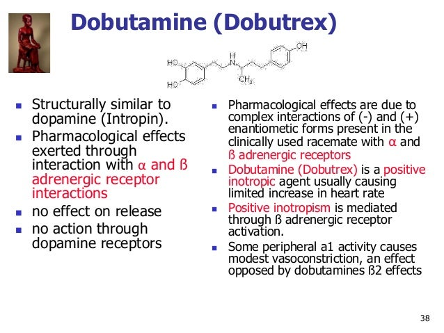 38 Dobutamine (Dobutrex)  Structurally similar to dopamine (Intropin).  Pharmacological effects exerted through interact...